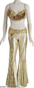 "Movie/TV Memorabilia:Costumes, Gay Blackstone ""Goldigger"" Costume. A metallic gold padded bra top adorned with gold bangles, sequins, rhinestones and broca..."