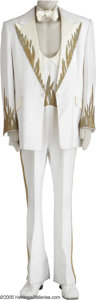 Movie/TV Memorabilia:Costumes, Blackstone Flame Tuxedo. Cream-colored tuxedo jacket and matchingjumpsuit with cream-and-gold beaded flame design worn by H...