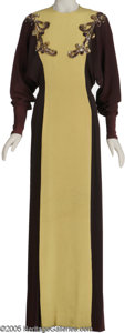 Movie/TV Memorabilia:Costumes, Lucille Ball Costume Dress. Full-length dark yellow-and-maroondress with sequin designs worn by Lucille Ball in an unknown ... (1)
