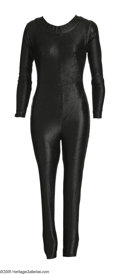 "Movie/TV Memorabilia:Costumes, Catwoman Costume from ""Batman"" Series. This black, skin tight nylon body suit with rear zipper, was worn by actress Eartha K..."