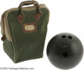 Movie/TV Memorabilia:Props, Archie Bunker's Bowling Bowl and Bag. This black Ebonite bowling bowl and green bag were used by Carroll O'Connor in his rol...
