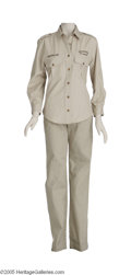 "Movie/TV Memorabilia:Costumes, Cameron Diaz ""Charlie's Angels Full Throttle"" Costume. Two-piececostume worn by Diaz features a khaki shirt with ""Shambala ... (1 )"