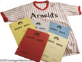 "Movie/TV Memorabilia:Costumes, ""Happy Days"" Costume Shirt and Scripts. Included here is an ""Arnold's"" softball jersey (size medium) from an unspecified epi..."