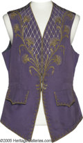 "Movie/TV Memorabilia:Costumes, Bob Hope ""Monsieur Beaucaire"" Costume Vest. A purple vest withrhinestones and gold trim worn by Hope in ""Monsieur Beaucaire..."