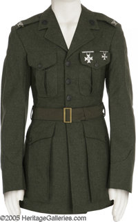 "Tommy Lee Jones ""Rules of Engagement"" Costume. Olive-green cap and Marine Corp uniform coat with colonel's eag..."