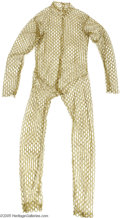 "Memorabilia:Comic-Related, Gold Fishnet Jumpsuit from ""Star Trek."" This lot includes a gold,fishnet jumpsuit used as a ""sleeper suit"" from Star Trek's..."