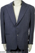 "Movie/TV Memorabilia:Costumes, Spencer Tracy Suit. This fitted, gray pin-stripe suit was worn byactor Spencer Tracy in the romantic comedy ""Pat and Mike.""..."