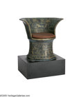 """Movie/TV Memorabilia:Props, """"Cleopatra"""" Palace Chair Prop. A gold and black wooden chair fromthe movie. In overall fair condition, it shows extensive p..."""