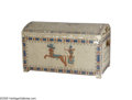 "Movie/TV Memorabilia:Props, ""Cleopatra"" Chest. Off-white, painted wooden chest from the movie,decorated with blue, red, yellow, green, and brown scenes..."
