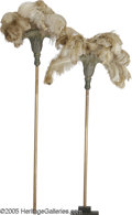 """Movie/TV Memorabilia:Props, """"Cleopatra"""" Prop Fans. Pair of large, gold-painted faux-bronze fans from the movie, with large feathers extending from the t..."""