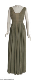 """Movie/TV Memorabilia:Costumes, """"Cleopatra"""" One-Piece Gown. Full-length, olive-colored satin gowndesigned for Elizabeth Taylor to be worn in the film, with... (1 )"""