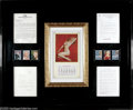 Movie/TV Memorabilia:Framed Presentations, Marilyn Monroe Framed Documents and Calendar. Here is a framedselection of Marilyn Monroe items that includes a typed, sign...