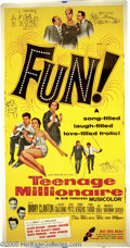 "Movie/TV Memorabilia:Miscellaneous, ""Teenage Millionaire"" Vintage Movie Poster. ""FUN!"" exclaims thisvintage poster for the 1961 teen musical that featured Jimm..."
