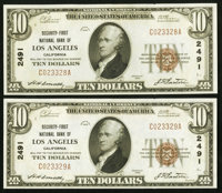 Los Angeles, CA - $10 1929 Ty. 1 Security-First NB Ch. # 2491 Two Examples