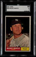 Baseball Cards:Singles (1960-1969), 1961 Topps Mickey Mantle #300 SGC 60 EX 5....