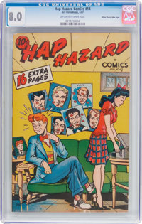 Hap Hazard Comics #14 Mile High Pedigree (Ace, 1947) CGC VF 8.0 Off-white to white pages