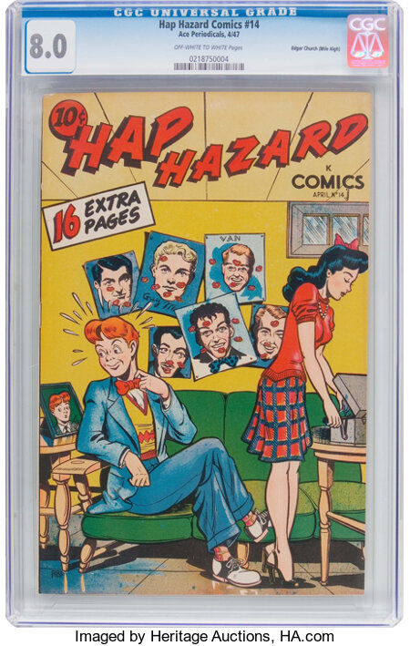 Hap Hazard Comics #14 Mile High Pedigree (Ace, 1947) CGC VF 8.0 Off-white to white pages....