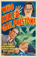 "Movie Posters:Crime, Who Killed Gail Preston? (Columbia, 1938). One Sheet (27"" X 41"")....."