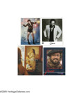 "Music Memorabilia:Photos Signed, Music Icons Autograph Group. Included is an 8"" x 10"" color promo card signed by Luciano Pavarotti, a color 8"" x 10"" promo st... (4 )"