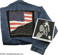 """Music Memorabilia:Photos Signed, Mick Jagger Signed Photo with Jean Jacket. A black-and-white 8"""" x 10"""" photo signed by Jagger, along with a denim jacket (siz... (2 Items)"""