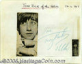 Music Memorabilia:Autographs and Signed Items, The Hollies Vintage Signed Album Page (1967).... (2 Items)