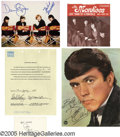 Music Memorabilia:Autographs and Signed Items, '60s Pop Autograph Group. Included is an interview agreement datedJuly 19, 1995 signed by Mark Volman (binder holes at top ... (4 )