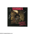 "Music Memorabilia:Autographs and Signed Items, Ramones Signed ""Brain Drain"" LP. A copy of the 1989 LP, signed onthe cover by Joey, Johnny, Marky, and C.J. Ramone in silve... (1 )"