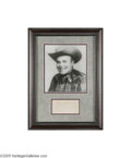 "Music Memorabilia:Framed Presentations, Bob Wills Autograph and Photo. A signature sample from the pioneer of Texas swing music, inscribed ""Bob Wills -- All ways [s..."