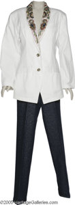 Music Memorabilia:Costumes, Jeannie Kendall White Jacket and Blue Denim Pants. This lotcontains a white jacket with fancy, colorful and ornate beading ...
