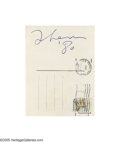 "Music Memorabilia:Autographs and Signed Items, John Lennon Signed Postcard. a 3"" x 5"" postcard dated 1980featuring "" 'Xmas Song' by Sean Ono Lennon '79"" on the front and... (1 )"