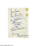 "Music Memorabilia:Autographs and Signed Items, Set of ""Beatles"" Signatures Done by Paul McCartney. Sometimes whenone or more members of a group are indisposed, another wo..."