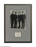Music Memorabilia:Framed Presentations, Beatles Ensemble Photo and Ticket Ad. Here's an interesting item:an ensemble photo of the Beatles from early in their caree...