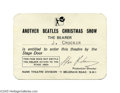 "Music Memorabilia:Ephemera, Beatles Christmas Show Pass (1964). After the success of the1963-64 Christmas shows, the Beatles decided to do ""Another Bea..."