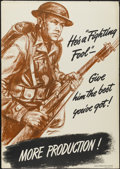 "Movie Posters:War, War Production Board - ""He's a Fighting Fool"" (U.S. Government,1942). Poster (28"" X 40""). War...."