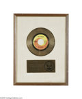 "Music Memorabilia:Awards, Beatles ""Hello Goodbye"" Gold Record Award. Matte-style RIAA awardpresented to the Beatles ""to commemorate the sale of more ..."