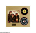 "Music Memorabilia:Framed Presentations, Beatles ""There's a Place"" Stamper Disc. Featured is the 7 1/2""stamper disc for the Beatles' single ""There's a Place,"" which..."