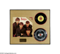 "Beatles ""There's a Place"" Stamper Disc. Featured is the 7 1/2"" stamper disc for the Beatles' single ""..."