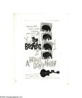 "Music Memorabilia:Posters, The Beatles ""A Hard Day's Night"" Poster Rough Layout (UnitedArtists, 1964). A rough layout is a general sketch of a poster ..."