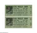 Music Memorabilia:Tickets, Elvis 1956 Performance Tickets. Elvis had released his debut album about eight months before his November 24, 1956 concert p... (1 )
