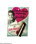 "Music Memorabilia:Memorabilia, Elvis Presley Prototype Lipstick. Lipstick in tube (color: ""Love YaFuchsia"") with engraved autograph, still attached to the... (1 )"