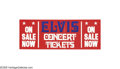 "Music Memorabilia:Miscellaneous, Elvis Concert Tickets Mini-Banner. A red, white, and blue 22"" x 8""mini-banner promoting tickets to an unspecified Elvis con... (1 )"