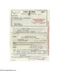 Music Memorabilia:Ephemera, Elvis Motorcycle Insurance Policy and Delivery Receipt (1956). This lot consists of Elvis' delivery receipt and insurance po... (2 items)