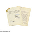 Music Memorabilia:Documents, Elvis Movie Contract. In 1956, Colonel Tom Parker negotiated asizeable movie contract with the Wallis and Hazen production ...