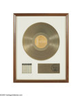 "Music Memorabilia:Awards, Elvis ""Worldwide 50 Gold Award Hits Vol. 1"" Gold Record Award.Matte-style award presented to the ""Southern Broadcast Group ..."
