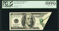 Error Notes:Foldovers, Fr. 2175-E $100 1996 Federal Reserve Note. PCGS Choice About New55PPQ.. ...