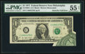 Error Notes:Foldovers, Fr. 1909-C $1 1977 Federal Reserve Note. PMG About Uncirculated 55Net.. ...
