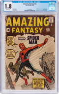 Silver Age (1956-1969):Superhero, Amazing Fantasy #15 (Marvel, 1962) CGC GD- 1.8 Off-white pages....