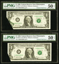Error Notes:Foldovers, Fr. 1924-C $1 1999 Federal Reserve Notes. Two Consecutive Examples.PMG About Uncirculated 50 EPQ.. ... (Total: 2 notes)