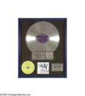 "Music Memorabilia:Awards, ""Alice In Chains"" Platinum Record Award. Presented to Mike Inez,the band's bassist, to commemorate the sale of more than on..."