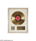 "Music Memorabilia:Awards, ""Chicago Transit Authority"" Gold Record Award. ""Presented to JackGoudie to commemorate the sale of more than one million do..."